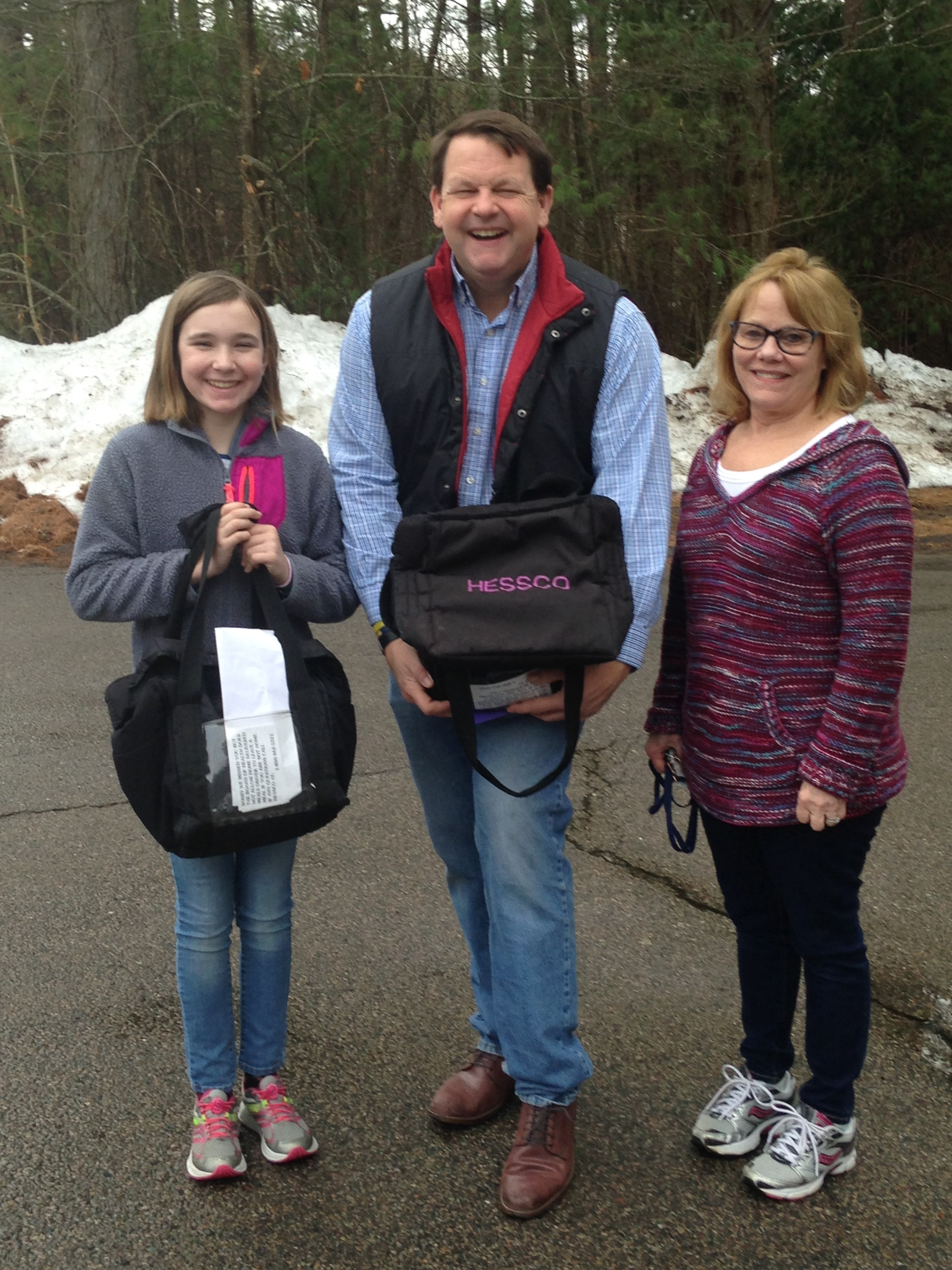 Rep Dooley, Dtr Emma doing her community service for school and driver Sara Wrentham