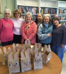 "The ""Crafty Ladies"" make a spring craft for Millis home delivered meals consumers"