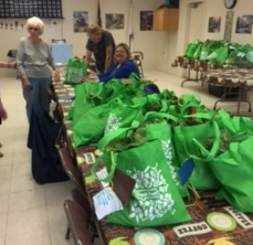 Fresh food bags being distributed at Foxboro Meal Site